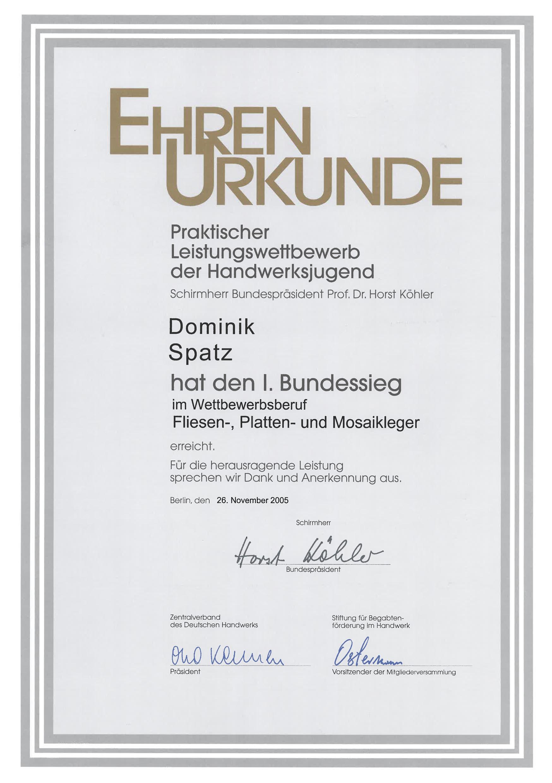 DS-Meisterfliesen Bundessieger-Urkunde