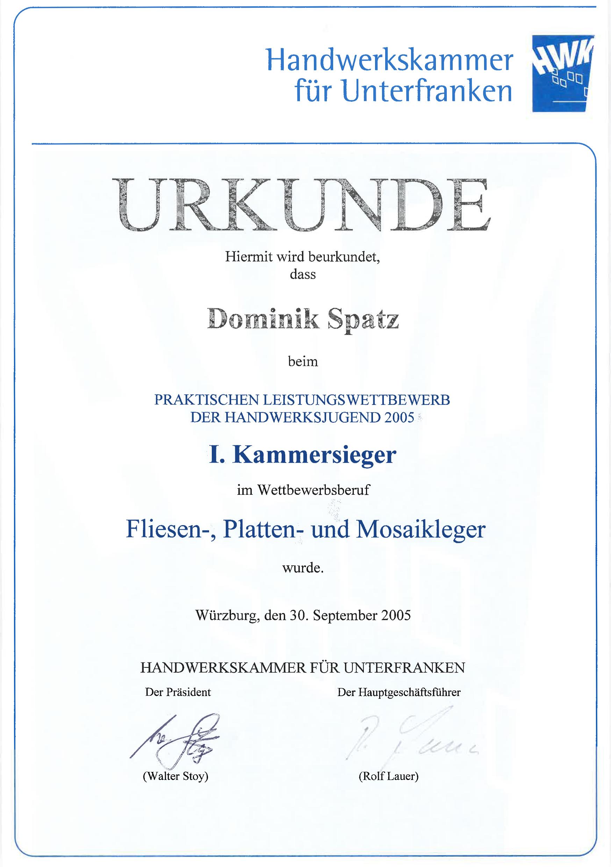 DS-Meisterfliesen Kammersieger-Urkunde