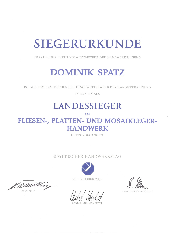 DS-Meisterfliesen Landessieger-Urkunde