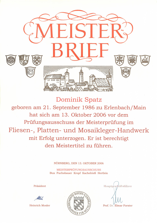 DS-Meisterfliesen Meisterbrief