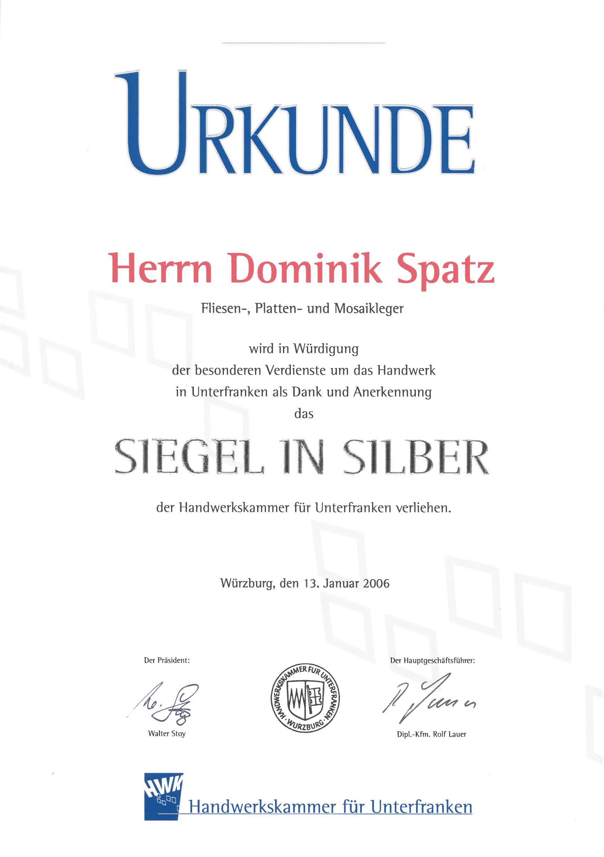 DS-Meisterfliesen Siegel in Silber